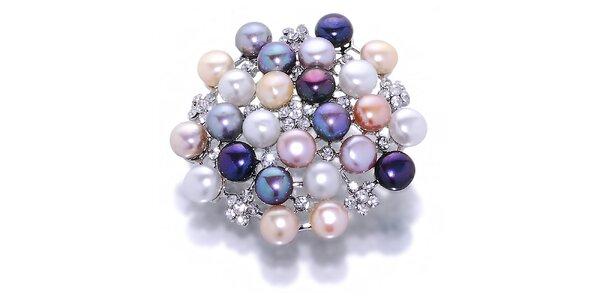Dámská barevná perlová brož Orchira