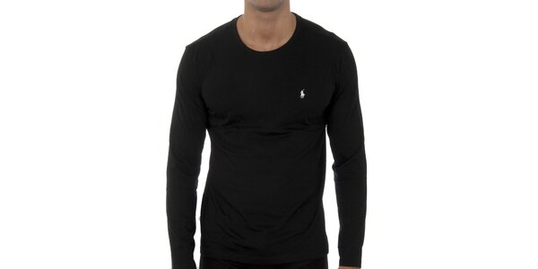 Pánské černé tričko Polo Ralph Lauren s dlouhým rukávem