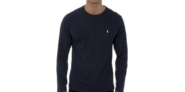 Pánské tmavě modré tričko Ralph Lauren s dlouhým rukávem