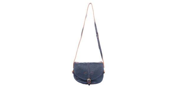 Dámská tmavě modrá kabelka s perforovanou klopou Caro Paris