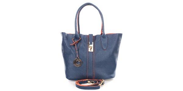 Dámská modrá kabelka s přívěskem Caro Paris