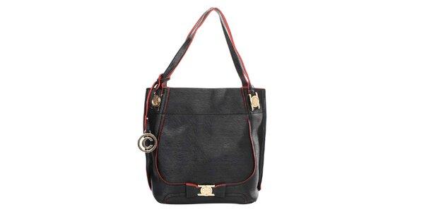 Dámská černá kabelka s kulatým přívěskem a červenými prvky Caro Paris