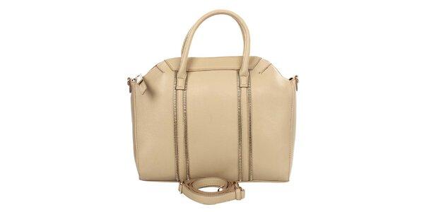 Dámská béžová kabelka s ozdobnými zipy Caro Paris