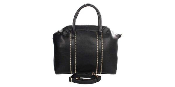 Dámská černá kabelka s ozdobnými zipy Caro Paris