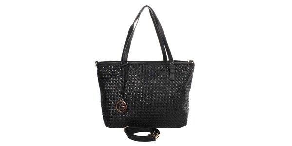 Dámská černá kabelka s kulatým přívěskem Caro Paris