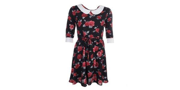 Dámské černé šaty s květy a límečkem Iska