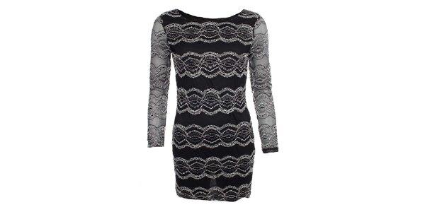 Dámské černé šaty s krajkovými vzory Iska