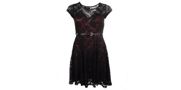 Dámské černo-bordó krajkové šaty Iska