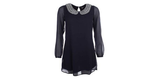 Dámské tmavě modré šaty s transparentními rukávy Iska