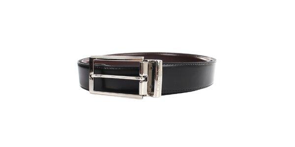 Pánský kožený oboustranný pásek v hnědo-černé barvě Calvin Klein
