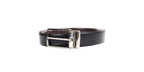 Pánský kožený hnědo-černý oboustranný pásek s kovovou sponou Calvin Klein
