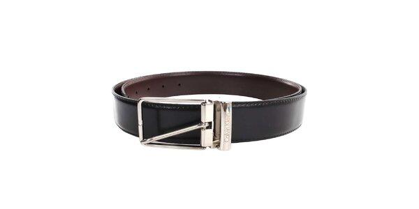 Pánský hladký oboustranný pásek v hnědo-černé barvě Calvin Klein