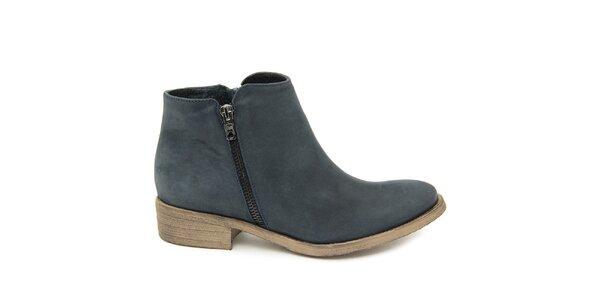 Dámské šedomodré kotníkové boty z kůže Giorgio Picino
