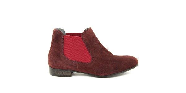 Dámské vínové semišové kotníčkové boty Giorgio Picino