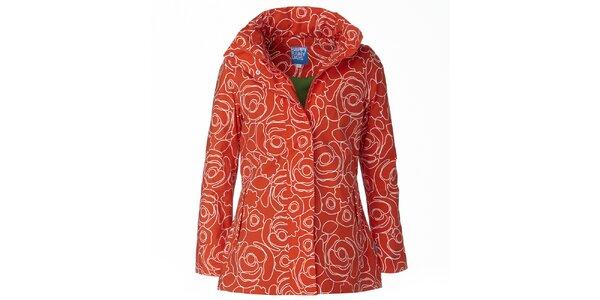 Dámská oranžovo-bílá bunda do deště Happy Rainy Days