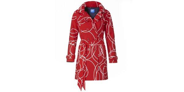 Dámský červený vzorovaný trenčkot Happy Rainy Days