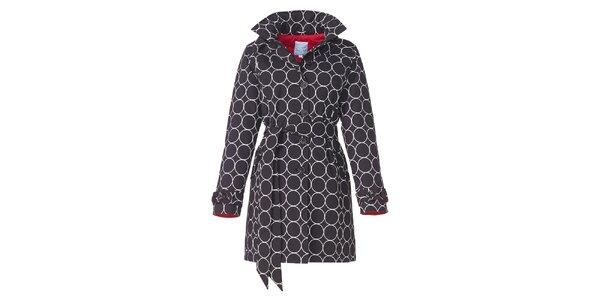 Dámský černý zimní trenčkot s bílým vzorem Happy Rainy Days