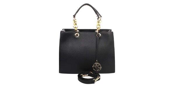 Dámská kabelka s ozdobnými poutky v černé barvě London fashion