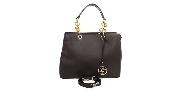 Dámská kabelka s ozdobnými poutky v tmavě hnědé barvě London fashion