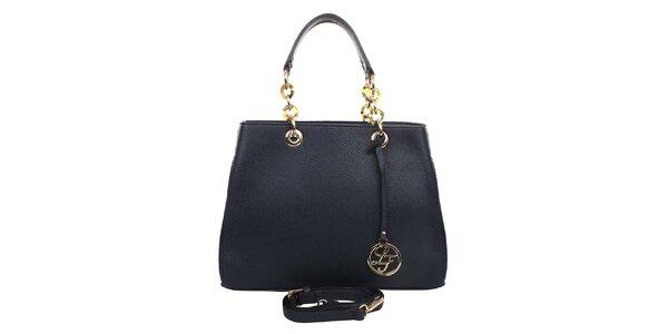 Dámská tmavě modrá kabelka s kulatým přívěskem a zdobnými poutky London fashion