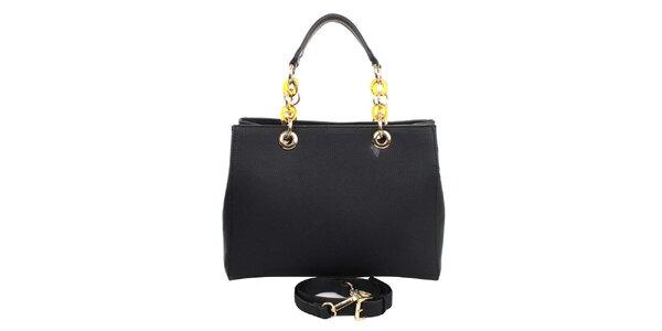 Dámská černá kabelka s řetízkovými uchy London fashion