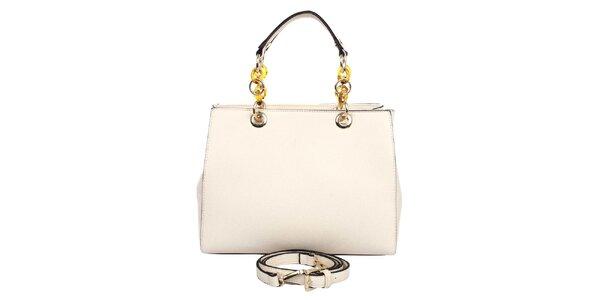 Dámská krémová kabelka s řetízkovými uchy London fashion