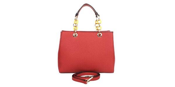 Dámská červená kabelka s řetízkovými uchy London fashion