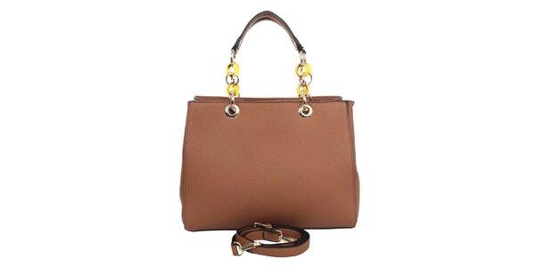 Dámská hnědá kabelka s řetízkovými uchy London fashion