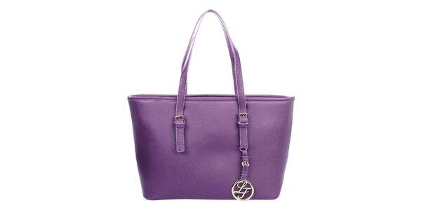 Dámská fialová kabelka s přívěskem London fashion