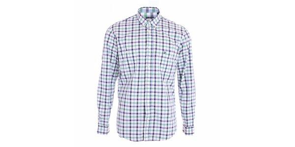Pánská modře károvaná košile s dlouhými rukávy Pietro Filipi