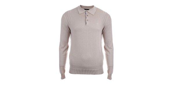 Pánský béžový svetr s límečkem Pietro Filipi