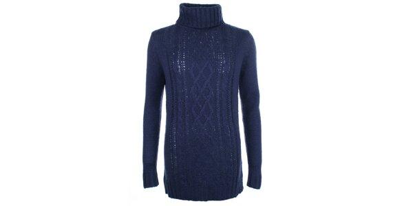 Dámský modrý vzorovaný svetr s rolákem Pietro Filipi