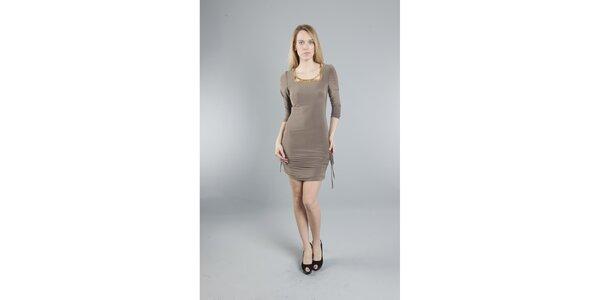 Dámské béžové šaty Via Bellucci se zlatými korály