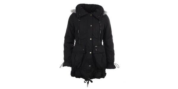 Dámský černý kabát se stahováním Big Star