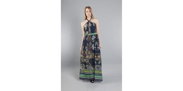 Dámské dlouhé tmavě modré šaty Via Bellucci s květinovým potiskem
