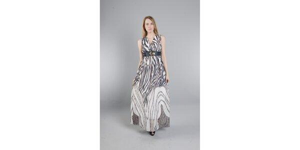 Dámské dlouhé černo-bílé šaty Via Bellucci se zebrovaným potiskem