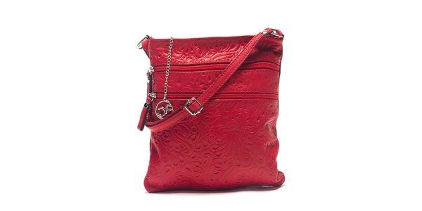 Dámská červená kožená taška se vzorem Carla Ferreri