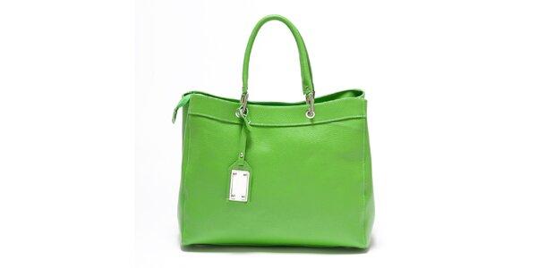 Dámská hráškově zelená kožená kabelka Carla Ferreri