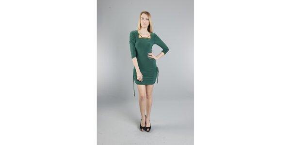 Dámské tmavě zelené šaty Via Bellucci se zlatými korály