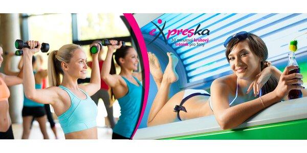 Měsíc neomezeného fitness v eXpresce + 100 minut solária a členství zdarma