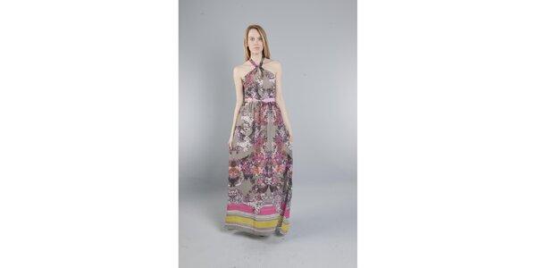 Dámské dlouhé šedé šaty Via Bellucci s květinovým potiskem