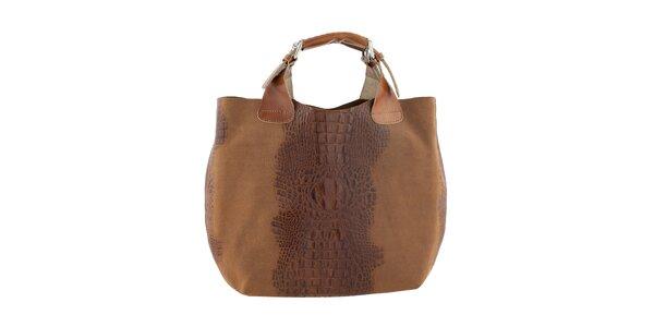 Dámská světle hnědá kožená kabelka s krokodýlím vzorem Ore 10