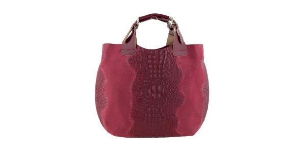 Dámská červená kožená kabelka s krokodýlím vzorem Ore 10