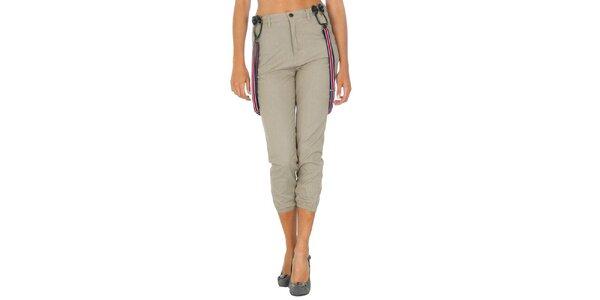 Dámské béžové kalhoty s kšandami Tommy Hilfiger