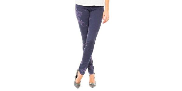 Dámské tmavě modré odbarevné kalhoty Tommy Hilfiger