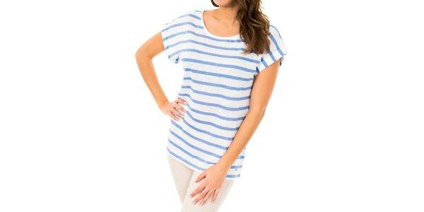Dámské bílé tričko s modrými proužky Tommy Hilfiger