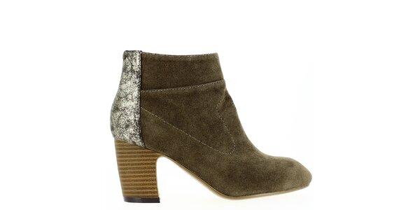 Dámské khaki kotníkové boty se třpytivou patou Shoes and the City