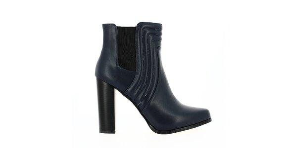 Dámské tmavě modré kotníkové boty s dekorativním prošíváním Shoes and the City