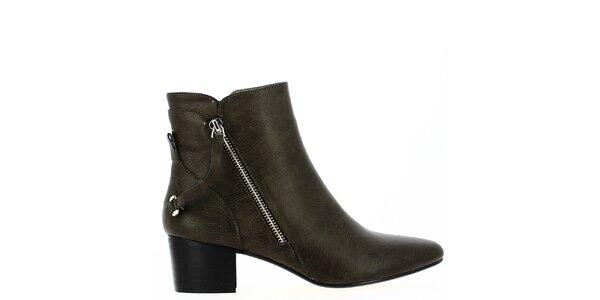 Dámská kotníčková obuv v khaki barvě Shoes and the City