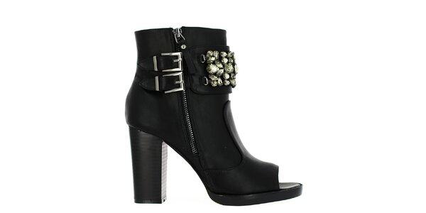 Dámské černé kotníčkové boty s dekorativními kameny Shoes and the City